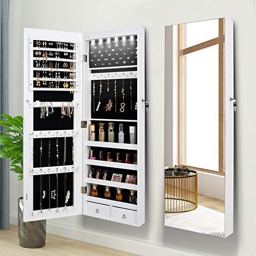 Armario para joyas con espejo, organizador de joyas, espejo, armario para joyas, armario colgante, espejo de pared de longitud completa, 6 luces LED (color blanco)
