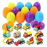 ThinkMax Huevos de Pascua Lleno 12 Piezas retirar los carros Juguete para Caza de Huevos de Pascua, Rellenos de Cesta, Favor de Fiesta de Pascua