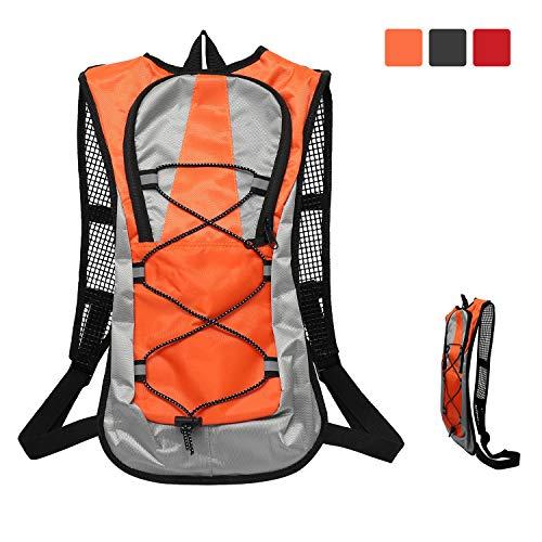 ioutdoor Fahrradrucksack 5L Wasserdichter atmungsaktiver ultraleichter Schulterrucksack mit sicherem Reflexstreifen für Radfahren, Marathon, Reiten, Wandern (Orange)