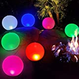 Inflatable LED Light Ball 1 PCS,Cootway 14' Hangable Globe Night Lights RGB Color Changing,Dimmable Orbs Mood Light Sphere Table Lamp,IP68 Waterproof Floating Pool Lights,Bright Light for Home,Office
