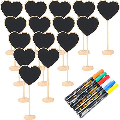 20 Pack Wood Mini Chalkboard Signs with 6 Pack Marks Pen Small Rectangle Chalkboards Blackboard for Weddings, Message Board Signs and Special Event Decorations (style3)
