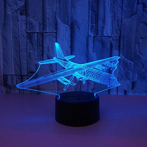 WULDOP Lámpara 3D Luz De Noche Avión hélice modelo Lámpara Nocturna Luz De Noche Luz Quitamiedos Infantil Led Para Habitación Infantil Dormitorio Baño Cuna Pasillo