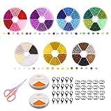 Queta Abalorios para Hacer Pulsera 42 Colores Mini Cuentas de Vidrio para Hacer Bisutería Kit de Fabricación de Joyas DIY Set de Manualidades para Collar Pendientes Aretes con Cajas Organizadores
