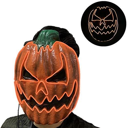 YCGGUK Halloween pompoen licht EL gloeiende masker LED Maskerade masker knipperen masker kleurrijke Rave masker kleuren gloeien voor festivals/Halloween/Kerstmis