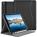 iPad 7th Generation Case 10.2 with Apple Pencil Holder, Premium PU Leather Folio with Auto Sleep/Wake, Multiple Viewing Angles Stand Protective Cover for 2019 10.2 inch iPad Black