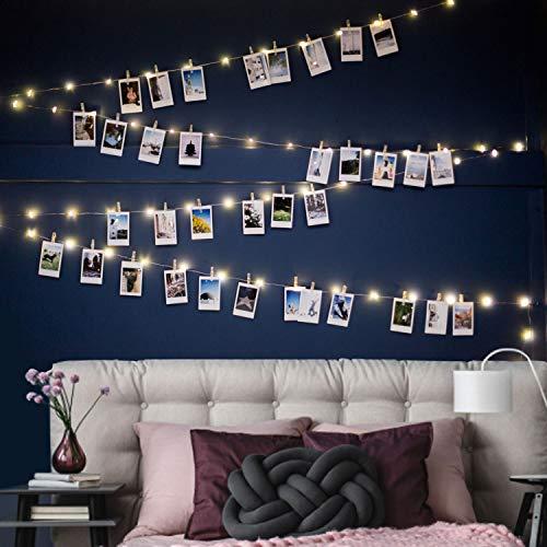 100er Led Lichterkette mit 50 Stücke Klammern für Fotos, USB 11M Lichterkette für Zimmer Deko Fotowand und Geburtstag Party, 8 Beleuchtungsmodi, Warmweiß
