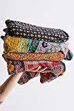 Indian Vintage Kantha Quilt Handmade Throw Reversible Cotton Blankets 1 Quilt (Assorted Colors)