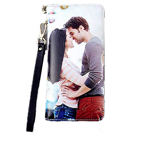 Personalized Photo Top-Grain Leather Wallet Wallets for Women Womens Wallet Ladies Purse Clutch Wallet Card Holder With Wrist Strap(Black Single Side)
