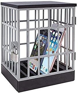 Mobile Phone Jail Cell Phones Prison Lock Up Safe Smartphone Stand Holders Classroom Home Table Office Storage Gadget -Family Time, Party Fun Novelty Gift Idea