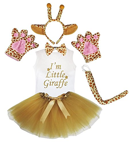 Petitebelle Diadema Bowtie Guantes de cola camisa del traje de la muchacha de la falda 6pc 3-4 Yr Jirafa