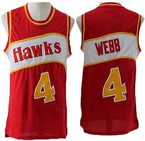 XSJY Camiseta De Baloncesto De Los Hombres NBA Atlanta Hawks 4# SPUD Webb Cómodo/Liviano/Transpirable Malla Bordada Swing Swing-Swing Sworks Camisa De Retrot,B,S:165~170cm/50~65kg