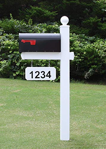 4Ever Products The Monroe Vinyl/PVC Mailbox Post (Includes Mailbox) Complete Decorative Curbside Mailbox System with Classic Traditional Style (Black Mailbox)