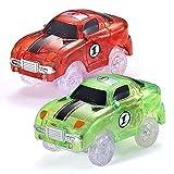 Codomoxo® Juego de 2 unidades de coche mágico fluorescente flexible para Magic Tracks circuito fosforescente luminoso (rojo + verde)