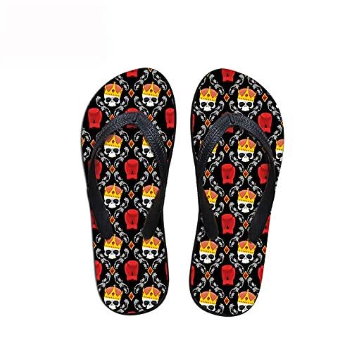 Linhuizhen Chanclas de Verano con Estampado de Calavera, Sandalias de Playa, cómodas Zapatillas de Ducha para Mujeres y Hombres