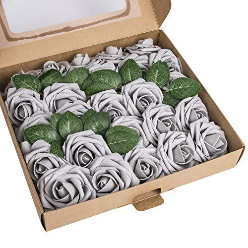 ShenHO rosas artificiales - 25 rosas artificiales de espuma de polietileno para bricolaje, ramos de boda, centros de mesa, decoración para fiesta de despedida de soltera, gris claro