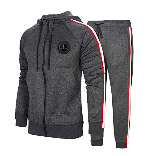 Men's Casual Tracksuit Long Sleeve Running Jogging Athletic Sports Set, Dark Gray-2XL