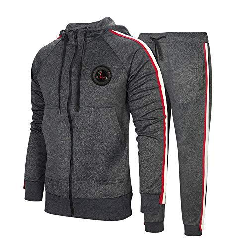 DUOFIER Men's Activewear Fleece Tracksuits 2 Pieces Jacket & Pants Full Zip Jogging Sweatsuit Sportswear,Dark Gray-L