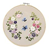 Cuyoc - Set de costura para manualidades con marcos de flores, fácil de usar, juego de costura completo