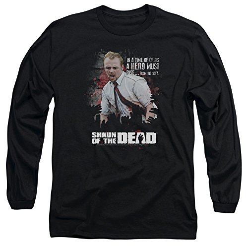 Shaun Of The Dead - Hero hommes doivent se lever à manches longues T-shirt, Medium, Black