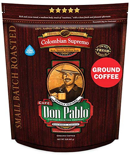 2LB Don Pablo Colombian Supremo - Drip Ground Coffee - Medium-Dark Roast - Low Acidity - 2 Pound (2 lb) Bag