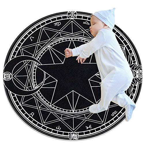 Runde Teppiche, Gothic-Stil, schwarzes Pentagramm, für den Innenbereich, Fußmatte, Läufer, Teppich, Yogamatte für Wohnzimmer, Schlafzimmer, 10 m