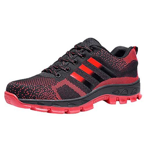 Trekking Scarpe Uomo da Lavoro Antinfortunistiche Acciaio Sportive Scarpa Sneaker Ginnastica Estive Rosso 40 EU