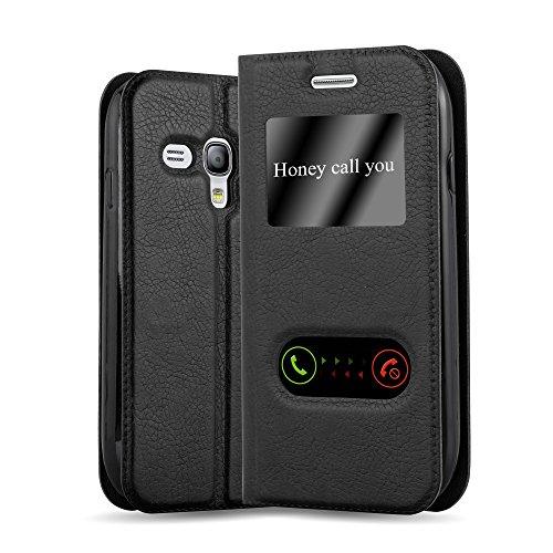 Cadorabo Custodia Libro per Samsung Galaxy S3 Mini in Nero COMETA - con Funzione Stand e Chiusura Magnetica - Portafoglio Cover Case Wallet Book Etui Protezione