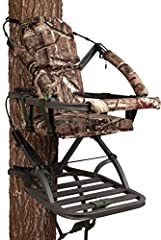 "Closed-front aluminum climbing stand Suspended foam-padded seat with backrest Weighs 18 lbs. and holds up to 300 lbs. 18 ""W x 12"" D Seat Size, 20"" W x 24.75"" D Platform Size Includes Full Body Fall Arrest Harness System and all necessary hardware Alu..."