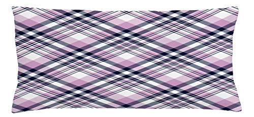 ABAKUHAUS Schotse ruit Sierkussensloop, Abstract Pastel Chequered, Decoratieve Vierkante Hoes voor Accent Kussen, 90 cm x 40 cm, Grijs Pink Indigo en White