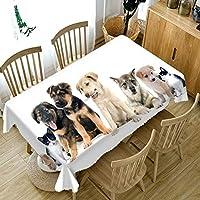 ポリエステルテーブルクロスプロテクター防水、テーブルクロス滑り止め犬のさまざまな品種屋外テーブル用テーブルクロス長方形ホワイト110x170CM