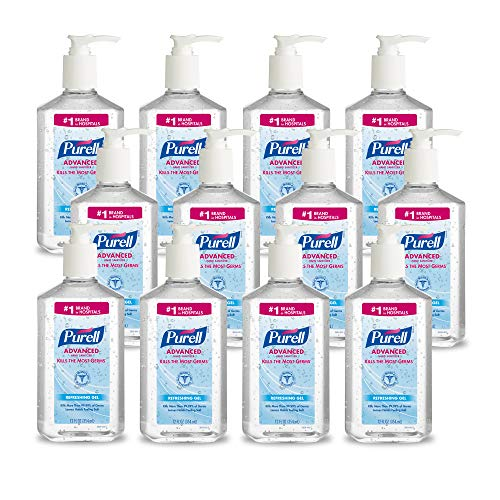 PURELL Advanced Hand Sanitizer, Refreshing Gel, 12 fl oz Sanitizer Table Top Pump Bottle (Case of 12) - 3659-12