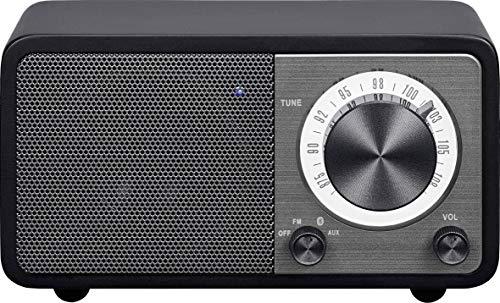 Radio de escritorio portátil Sangean WR-7 (sintonizador FM RDS, Bluetooth, entrada auxiliar, altavoz incorporado, batería recargable (recargable)), negro mate