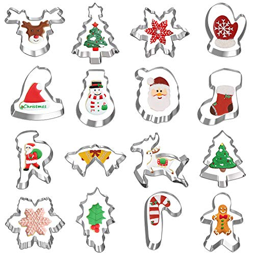 Hibery 16 Pcs Christmas Cookie Cutters Set, Holiday Winter Christmas Metal Cookie Cutters with Snowflake, Snowman, Christmas Tree, Candy Cane Cookie Cutters and More