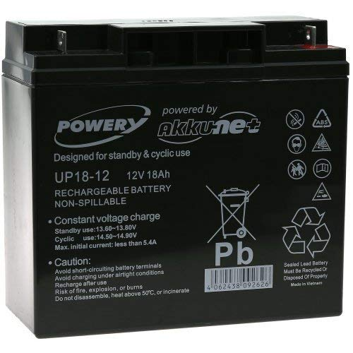 Batterie gel-plomb Powery 12V 18Ah, 12V, Lead-Acid [ Batterie au plomb ]