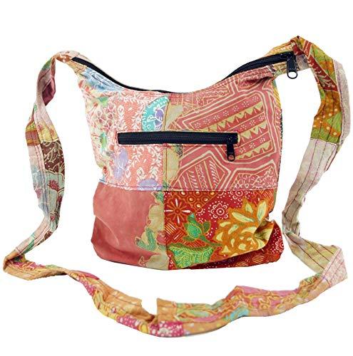 GURU SHOP Boho Schultertasche, Patchwork Tasche - Rot/orange, Herren/Damen, Baumwolle, Size:One Size, 25x23x5 cm, Alternative Umhängetasche, Handtasche aus Stoff