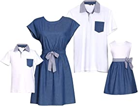 PopReal Family Matching Outfits Mommy and Me Dresses Plaid Ruffles Short Sleeve Shirt Bowknot