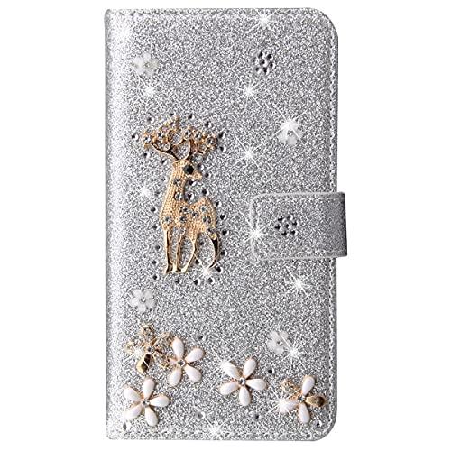 Blllue Funda De Cartera Compatible Con Redmi 9A, Bling Glitter Lucky Deer Diamond Pu Funda De Teléfono Flip Para Xiaomi Redmi 9A - Plata