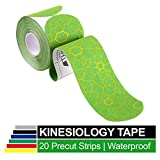 TheraBand Kinesiology Tape, Waterproof Physio Tape for Pain Relief, Muscle & Joint Support, Standard Roll with XactStretch Application Indicators, 2' X 10' Strips, 20 Precut Strips, Green/Yellow