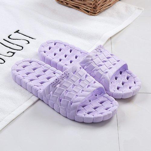 fankou Hausschuhe Hausschuhe Sommer Hause Schuhe rutschfeste weichen Boden Männer gestreiften kalten Bäder und Paare Hausschuhe weiblich, 37-38, lila ausgesetzt Purple