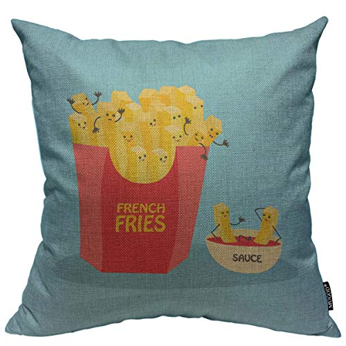 Mugod Cartoon Fries Throw Pillow Cover Funny Laughing French Fries Character with Ketchup Isolated on Blue Decorative Square Pillow Case for Home Bedroom Living Room Cushion Cover 18x18 Inch
