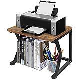 Desktop Printer Stand with Storage Shelf, Rustic PrinterTable, Multi-Purpose Desktop Stand Organizer as Storage Shelf, Countertop Book Shelf, Home Printer Stand with Adjustable Anti-Skid Feet