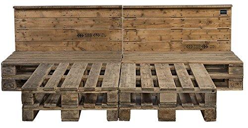 Schroth Home PALoma Vintage Palettenbett 160 x 200 – Euro Paletten Bett mit Kopfteil – Holz Palette geschliffen – gebrauchte Paletten - kein lästiges Schleifen mehr