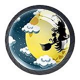 qfkj Tirador de la Perilla del cajón 4 Piezas El cajón del gabinete de Vidrio de Cristal Tira Las perillas del Armario,Halloween Bruja Lulu Volando Silueta Luna