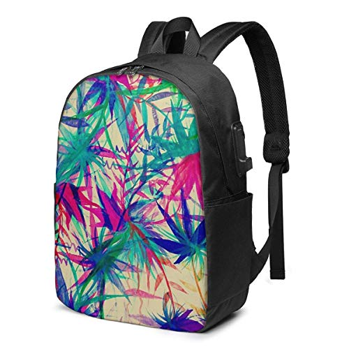Tropical Jungle - A Watercolor Painting USB School Backpack Large Capacity Canvas Satchel Casual Travel Daypack for Adult Teen Women Men 17in