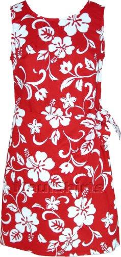 Sarong Dress - Women's Classic Hibiscus Mock Wrap Hawaiian Aloha A Line Side Tie Dress in Red - M