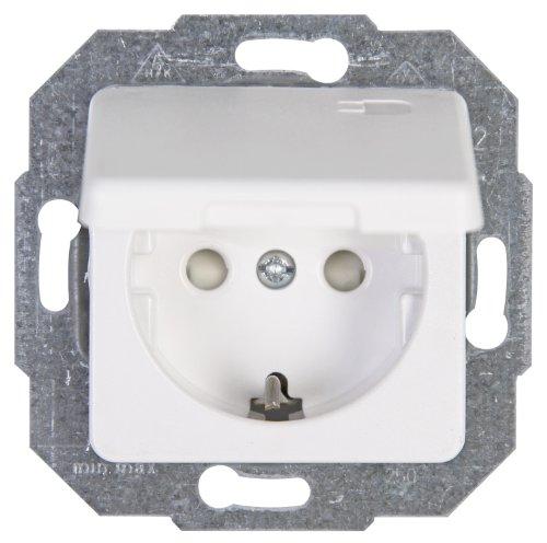 Kopp 117113086 Europa Schutzkontakt-Steckdose mit Deckel und erhöhtem Berührungsschutz