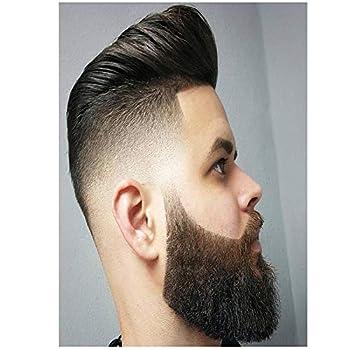 YGACJ Classic The Wavy Beard Men Hairstyle Haircut Shaving Inkjet Print Canvas Poster Wall Art Barber Shop Decor- 50x70cm /unframed