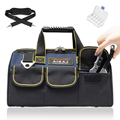 AIRAJ 18 in Heavy Duty Tool Bag with Wide Mouth for Tool Storage,Large Tool Bags with Plastic Handle and Adjustable Shoulder Strap,Tote Tools Bag for Household, Carpentry, Electrician, DIY Enthusiasts