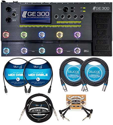 MOOER GE-300 Amp Modeler Multi-FX Processor Bundle with Blucoil 10' Straight Instrument Cable (1/4'), 2-Pack of 10-FT Balanced XLR Cables, 2x 5' FT MIDI Cables, and 2-Pack of Pedal Patch Cables