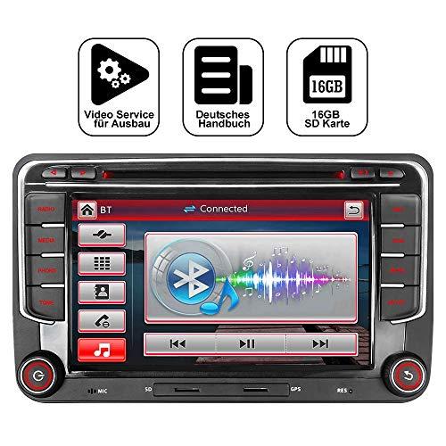 Junhua 7 Zoll 2 Din Autoradio für VW Golf Skoda Seat mit Wince System DVD Player GPS Navigation Radio Bluetooth USB Unterstützt DAB Kamera Lenkrad Bedienung 1080P Video 16GB Kartenmaterial (Radio)